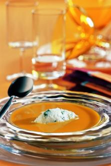 Soupe de potiron, sorbet aux herbes