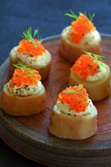 Bouchées de pommes de terre aux œufs de truite