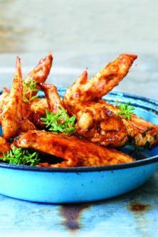 Ailes de poulet caramélisées au miel et au thym