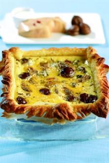 Quiche au foie gras et aux châtaignes