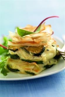 Mille-feuilles croustillants de courgettes au fromage de chèvre