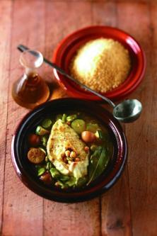 Couscous de poisson, fèves, citron confit et menthe