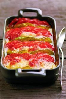 Tian de tomates et de poivrons à la mozzarella