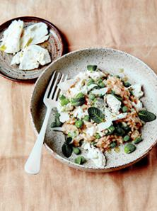 Risotto aux légumes verts et mozzarella