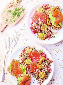Salade de qionoa et pamplemousse, avocado toasts