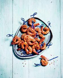 Brochettes de crevettes panées