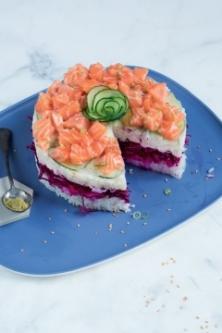 Spring sushi cake au saumon