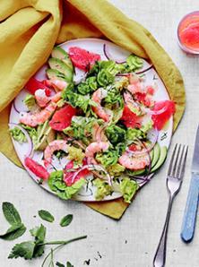 Salade de crevettes, pamplemousses et avocat