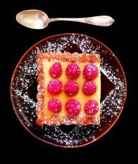 Tarte chocolat blanc et framboises