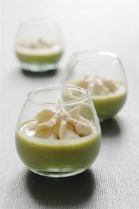 Crème de petits pois & chantilly au foie gras