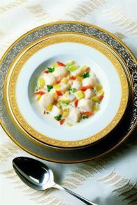 Soupe de pétoncles au thym citron