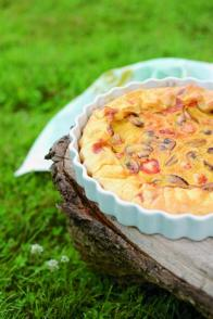 Tarte aux champignons, poulet et curry