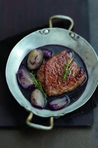 Pièce de bœuf aux échalotes confites