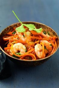Poêlée de crevettes et carottes à la coriandre