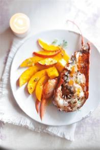 Homard grillé, mangue et œufs de truite
