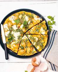 Omelette aux lardons, pommes de terre et mozzarella