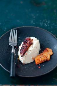 Crème de céleri et foie gras poêlé aux pommes