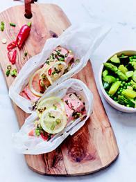 Papillotes de saumon aux légumes verts