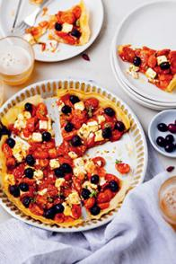 Tarte croustillante à la pâte filo : feta-tomates-olives