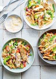 Salade minestrone au poulet braisé