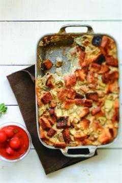 Pain perdu d'aubergines et coulis de tomates