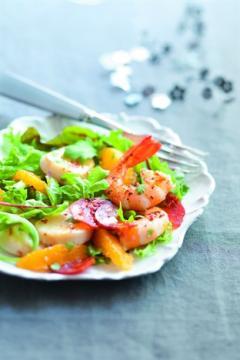 salade de mesclun aux saint-jacques et au chorizo