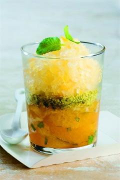 Salade d'oranges et granité au cidre