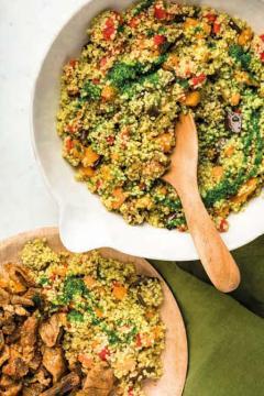 Couscous vert aux légumes et agneau épicé