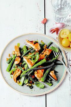 salade d'asperges, haricots et dinde