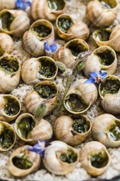 Escargots au beurre d'ail nouveau et bourrache