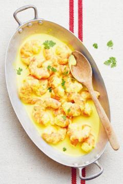 Gambas au curry et au lait de coco