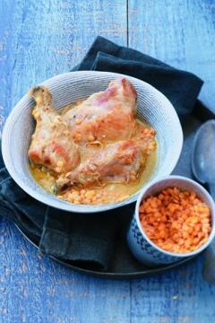Curry vert de poulet et lentilles corail