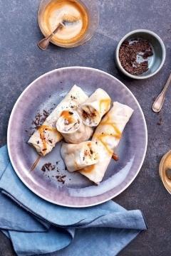 Rice rolls banane-choco-caramel