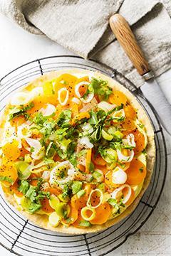 Tarte fine aux carottes, poireaux et yaourt