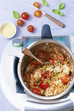 Risotto de petit épeautre au poulet et tomates cerise